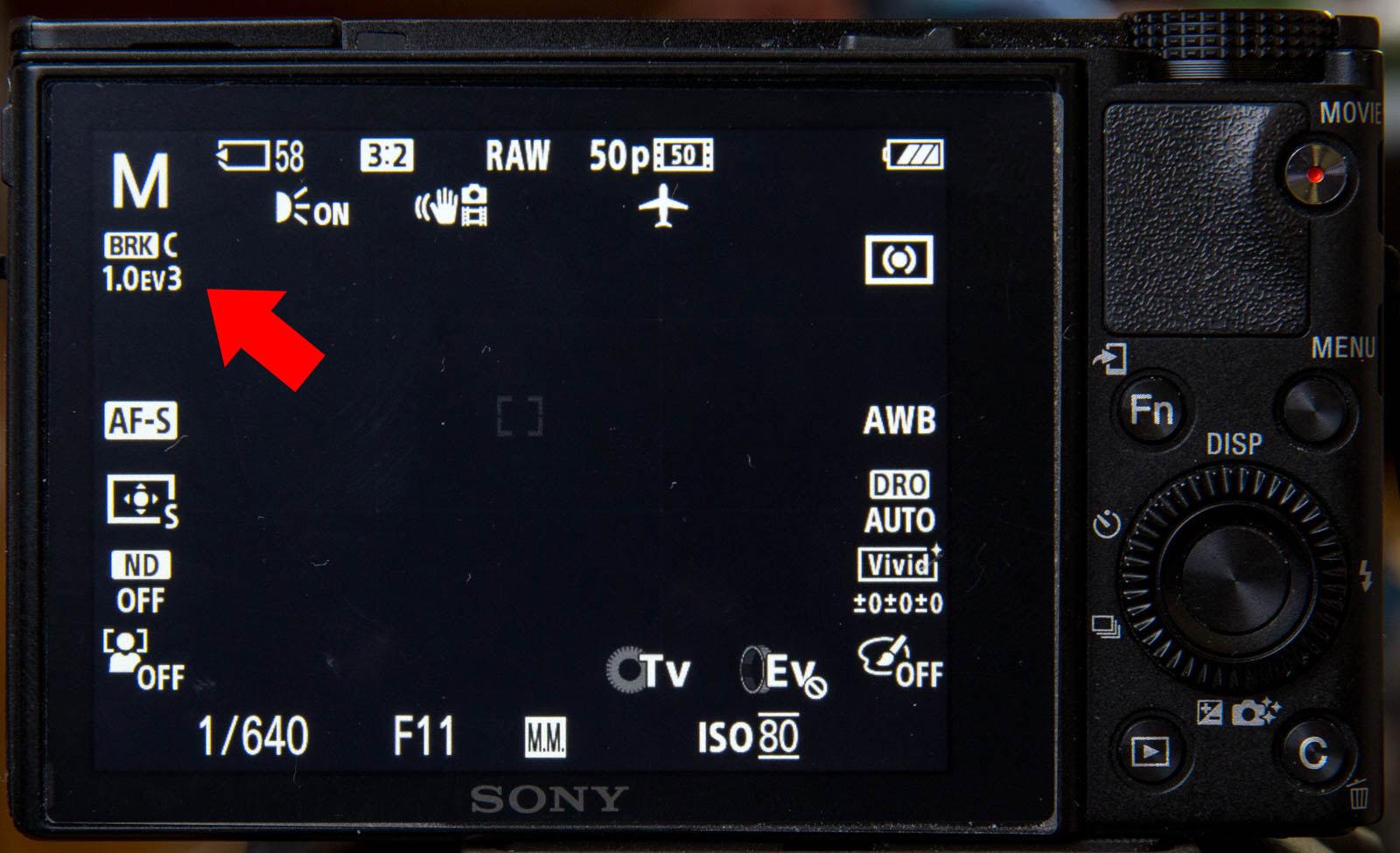 Display zeigt Belichtungsreihe